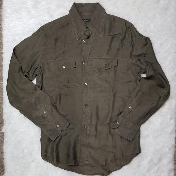 7e7ee745d Gucci Shirts | Silk Button Down Olive Green 41 | Poshmark